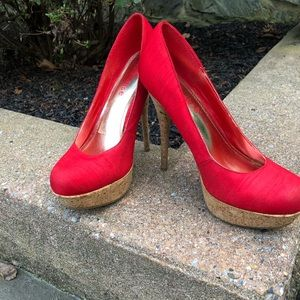 Ladies Red Cork Heel Pumps